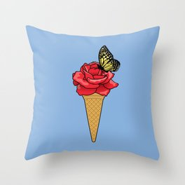 Butterfly Ice Cream Throw Pillow