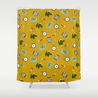 hiking Shower Curtains featuring Hiking Pattern by DAW Surface Design