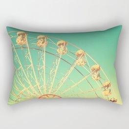 All the happy days - Carnival, ferris wheel , turquoise green, vintage retro, fall autumn, blue sky Rectangular Pillow