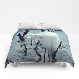 Great Egret in Water A108 Comforters