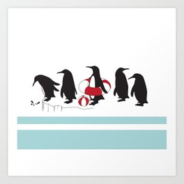 Penguins Waiting in Line Art Print