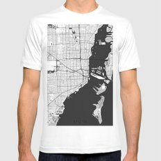 Miami Map Gray White Mens Fitted Tee MEDIUM