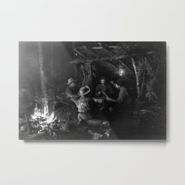 Vintage Adirondacks: Playing Cards by the Campfire Metal Print
