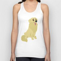 golden retriever Tank Tops featuring Golden Retriever by Sarah