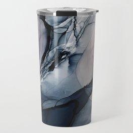 Blush, Navy and Gray Abstract Calm Clouds Travel Mug