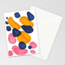Mid Century Modern Minimalist Abstract Colorful Bubbles Pebbles Yellow Navy Blue Pink Stationery Cards