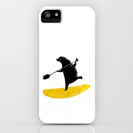 Paddling Bear loves his paddle board and surfing in the ocean. iPhone Case