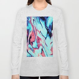 Turquoise Blue Rose Marble Background Long Sleeve T-shirt
