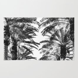 {2 of 2} Palm Tree Canopy // Topical Summer Beach Black and White Sky Rug
