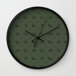 Roly Poly Party! Black Lineart on Green Wall Clock