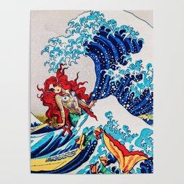 Mermaids love surfing Poster