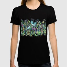 Little Garden Birds in Watercolor Black Womens Fitted Tee LARGE