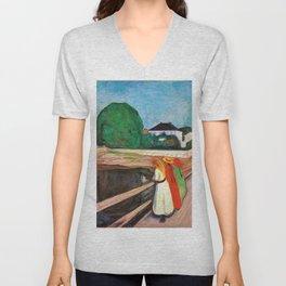 12,000pixel-500dpi - Edvard Munch - Girls on the pier - Digital Remastered Edition Unisex V-Neck