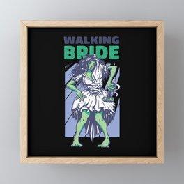Walking zombie bride green female zombie girl Framed Mini Art Print
