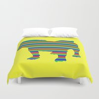 stripe Duvet Covers featuring Bulldog Stripe by Whimsy Notions Designs