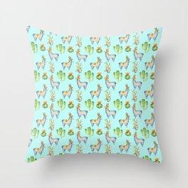 Hand painted teal blue pink yellow watercolor cactus Inca llamas Throw Pillow