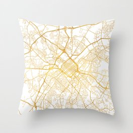 CHARLOTTE NORTH CAROLINA CITY STREET MAP ART Throw Pillow