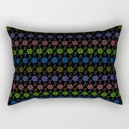 Rainbow Love ASCII Text Pinwheel Spiral Flower Rectangular Pillow
