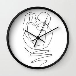 Kissing - Love One Line Art Wall Clock