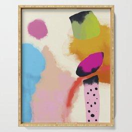 la vie en rose  art abstract minimal Serving Tray