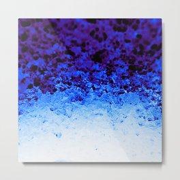 Indigo Blue Ombre Crystals Metal Print