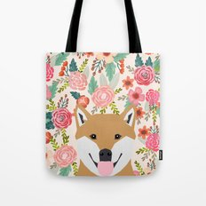 Shiba Inu florals spring summer bright girly hipster dog meme shiba ink puppy pet portraits Tote Bag