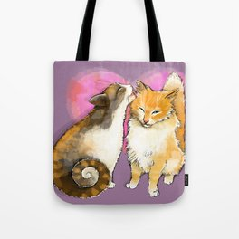 Cat licks a cat on the background of the heart Tote Bag