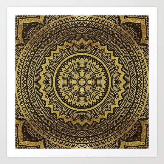 Black and Gold Mandala Art Print