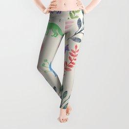 Watercolor Floral & Fox III Leggings