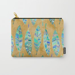 Jeweled Enamel Leaves on Tan Carry-All Pouch