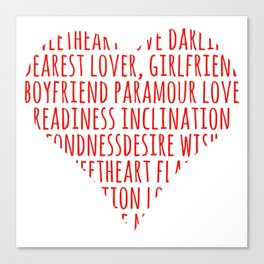 Heart shaped love words Canvas Print