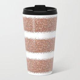 Rose gold glitter stripes Travel Mug