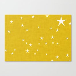 Yellow star with fabric texture - narwhal collection Canvas Print