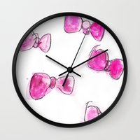 bows Wall Clocks featuring Bows  by BruiseViolet