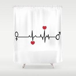 Love EKG Shower Curtain