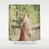 scripture Shower Curtains featuring Job 39: 19 Horse Scripture by KimberosePhotography