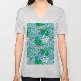 60's Blue Botanical Unisex V-Neck