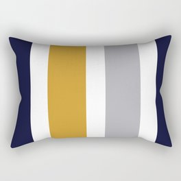 Quatro Stripe Minimalist Broad Stripe Color Block Pattern in Mustard Yellow, Navy Blue, Gray, White Rectangular Pillow