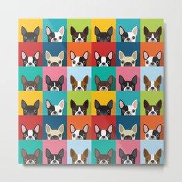 Boston Terrier Pop Art Pattern Metal Print