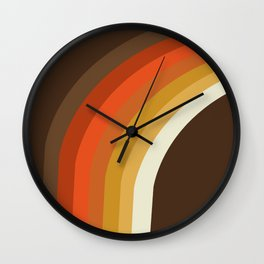 Rad - 70s style throwback rainbow art 1970s minimalist art Wall Clock