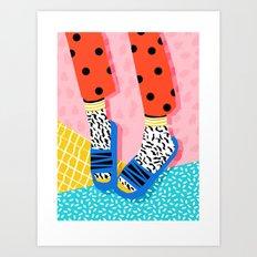 Shuvit - memphis retro fashion slides retro bright neon happy art basic decor Art Print