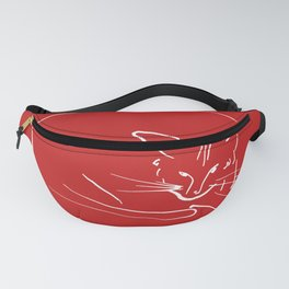 Relaxing Cat in red circle Fanny Pack