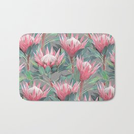 Pink Painted King Proteas on grey Bath Mat