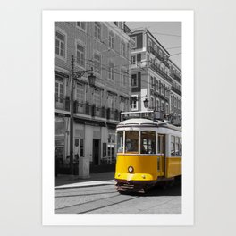 Tram In Lisbon Streets - Black And White - Portugal Travel Photography Vertical Art Print