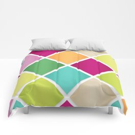 Modern Diamond Geometric Pattern Design // Pink Orange Green Blue Comforters
