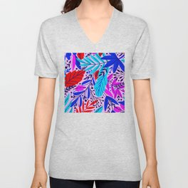 Hot Neon Summer Contemporary Colorful Leaf Patterns Unisex V-Neck