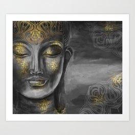 Buddha Gray Art Print