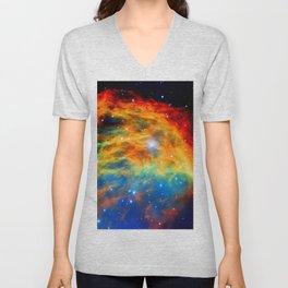 Rainbow Medusa Nebula Unisex V-Neck