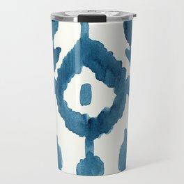 Painterly Flower Ikat Indigo Travel Mug