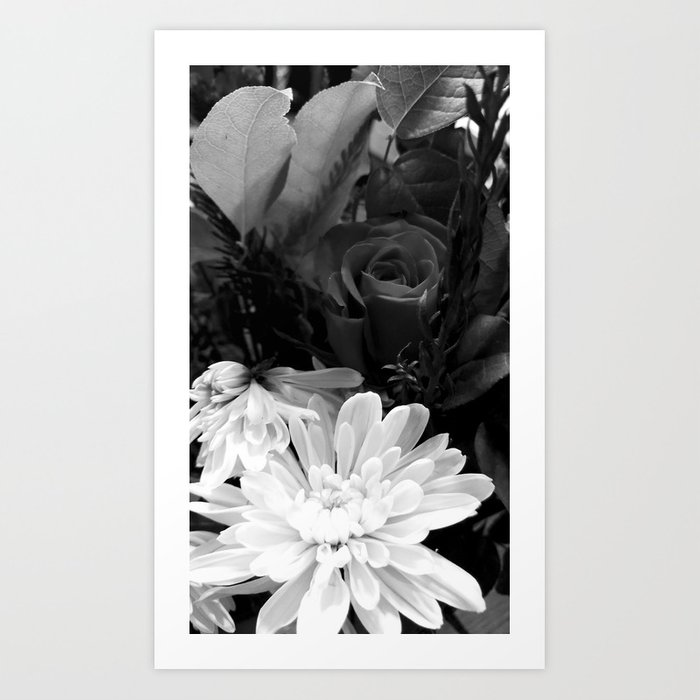 florals in black and white Art Print